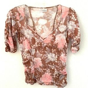 Urban Outfitters Top Large Mesh Sheer Floral